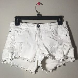 Rue 21 White Floral Fringe Ripped Shorts